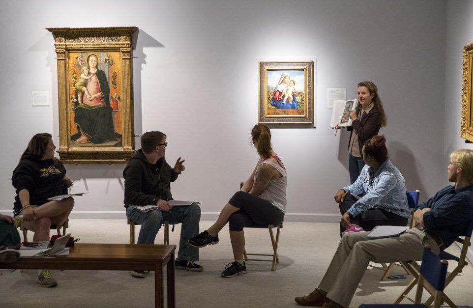 Randolph College students study artwork the exhibition Venetian Visions, 2015