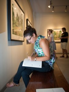 A Randolph College student studying in the Museum