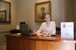 Student worker at receptionist desk